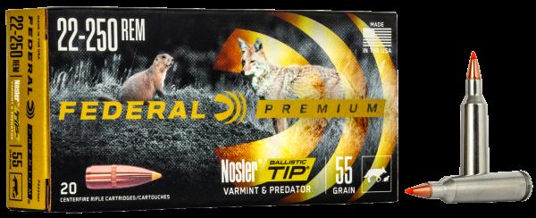 Federal Premium .22-250 Rem. 55gr. Nosler Ballistic Tip V Shock